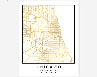 Chicago Map Coordinates Print - United States City Street Map Art Poster, Gold Chicago Map Print, Chicago Illinois Coordinates Poster Print