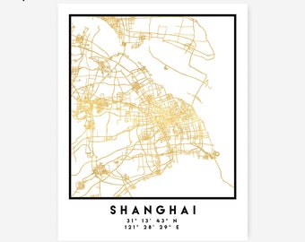 Shanghai Map Coordinates Print - China City Street Map Art Poster, Gold Shanghai Map Print, Shanghai China Coordinates Poster Map Print Art
