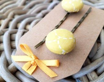 Soft Yellow Button Hair Grip