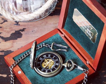 Pocket watch groomsmen gifts - Steampunk engraved watch - wedding gift