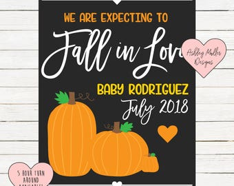 Thanksgiving Pregnancy Announcement Chalkboard Printable - Turkey Pregnancy Announcement Sign - Pregnancy Reveal - We're Expecting - Fall