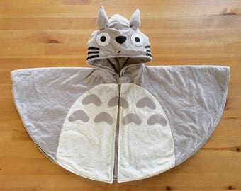 Totoro baby hooded cape , Made To Order , Totoro hoodie , hooded Poncho , Totoro Grey and Ivory Flannel