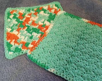 Hand Crocheted Wash Cloths Set of 2