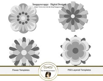 Flower Photoshop Layered Templates