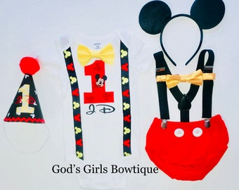 Mickey Mouse 1st Birthday Shirt Birthday Outfit Costume Smash Cake Party Outfit Invitation Photo Prop Bow Tie Hat Boys Bottoms FREE EARS