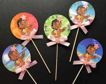 12 Baby Moana cupcake toppers