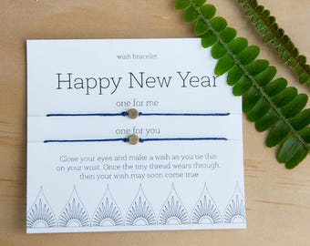 Happy New Year Wish Bracelet, New Years Party, New Year Wish, Friendship Bracelet, Set Of Two Bracelets, Holiday Gift, Gift For Him Or Her