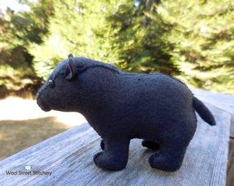 Black felt stuffed bear, realistic bear, felt animal gift, woodland or forest animal decor, felt stuffed animal