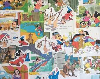 vintage Disney ephemera for junk journals, smash books, art journals, collage and altered art, fairy tale themed ephemera