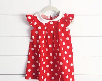 Minnie Mouse inspired dress, Minnie Mouse first birthday outfit, Minnie Mouse costume, Minnie Mouse dress up, red polka dot minnie dress