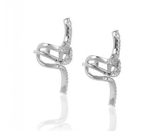 Sterling Silver Earrings Snake Shaped with White Zircon