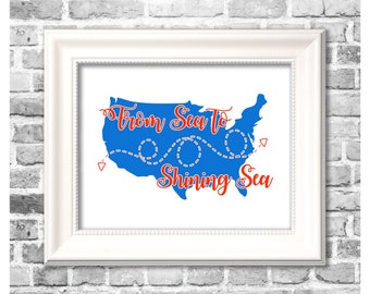 Independence Day Print / From Sea to Shining Sea / United States Silhouette / Americana Decor / Printable 4th of July Print