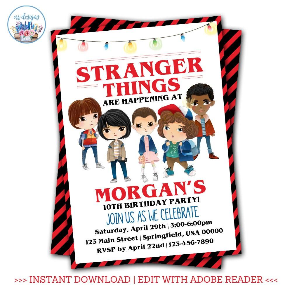 Stranger Things Invitation Editable Stranger Things