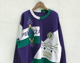 """20% OFF Vintage Pienezza Embroidery Logo Sweatshirt / Color Block Sweatshirt / Armpit 24.5"""""""
