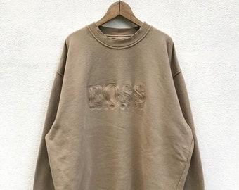 20% OFF Vintage Hugo Boss Embroidery Big Logo Sweatshirt / Hugo Boss Crewneck / Spell Out