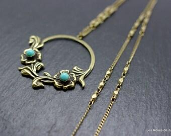 Art deco Bell pendant, art deco long necklace, pendant