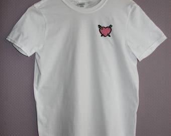 T-Shirt with Heart Patch black/white Men/Women