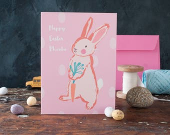 Pink personalised Easter card, bunny rabbit, Easter cards for kids, girls, spring seasons, greeting card, eggs, carrot, spotty pattern, fun