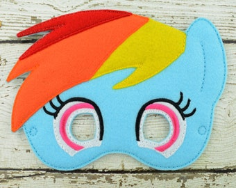 Rainbow Pony Children's Mask  - Costume - Theater - Dress Up - Halloween - Face Mask - Pretend Play - Party Favor