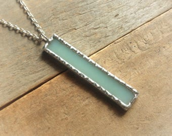 Birthday girlfriend, under 20 gift, light green necklace, pale green, vertical bar necklace, stained glass jewelry, jade glass pendant