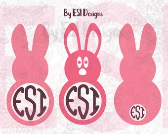 Easter Monogram svg, Easter Bunny Monogram, SVG, DXF, EPS & Png, for use in Silhouette Studio and Cricut Design Space. Vinyl Cut files.