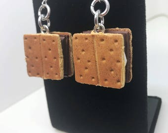 S'More Earrings - Dangle - Gift -  Birthday - Anniversary - Polymer Clay - Unique - Food Jewelry - Chocolate - Marshmallow - Camping