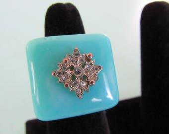 Vintage Blue Bakelite Ring Size 8 Free Shipping