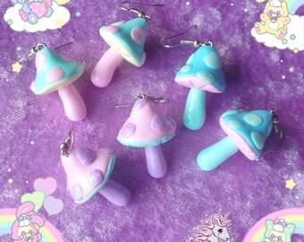 Magical Mashroom earrings pastel psychedelic fairy kei