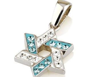 Star of David Pendant Azure&White Gemstones + Sterling Silver Necklace #3