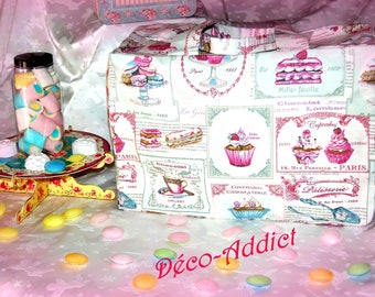 Travel theme cupcakes, macaroons and Cupcakes cotton canvas bag