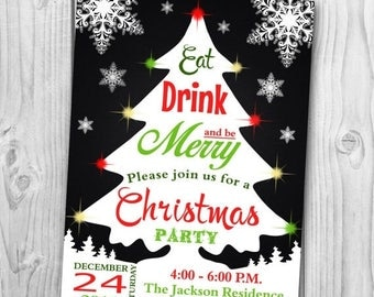 Christmas Party Invitation - Christmas Party Printable  - Holiday Party Invitation - Eat Drink and Be Merry Invitation