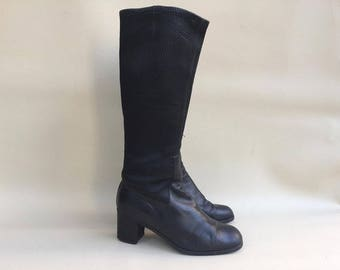 60s Black Scuba Boots / Scuba Leather Boots  / Large Heel Scuba Boots / 60 Black  Boots /  Black Boots USA 6  UK 4 EU 37