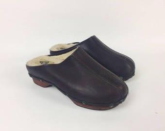 70s Mens Leather Clogs / Mens Fur Slippers 70s /Brown  Mens Fur Sabot / Mens Mules 70s / Slip on clogs for man / Clogs USA 9 / UK 8 / EU 42