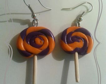 """Twisted round lollipop"" polymer clay earring"