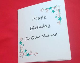 Nanna Birthday Card, Handmade Card For Nannas Birthday, Greeting Card, Stars And Gems, Pink And Purple Birthday Cards, From Grandchildren