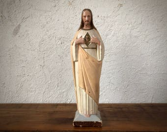 Chalk Ware Jesus Christ Statue, Sacred Heart of Jesus, Catholic Relic, Christian
