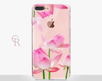 Floral iPhone 7 Plus Clear Case For iPhone 8 iPhone 8 Plus - iPhone X - iPhone 7 Plus - iPhone 6 - iPhone 6S - iPhone SE - Samsung S8