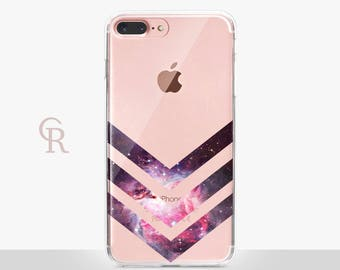 Pink Universe Clear Phone Case - Clear Case - For iPhone 8, 8 Plus, X, iPhone 7 Plus, 7, SE, 5, 6S Plus, 6S,6 Plus, Samsung S8,S8 Plus,