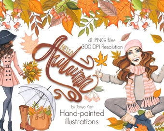 Hello Autumn Clipart, Autumn  Clipart, Fall Hand-painted clipart, Autumn Girl clipart, Fall leaves , Autumn leaves clipart, Dark Skin Toned