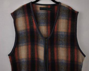 Santana wool sweater vest // large zip up cotton blend // fleece flannel // corduroy edges //