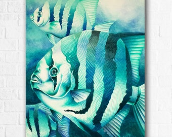 "Green Spades Water Color Original Artwork 25"" x 21"""