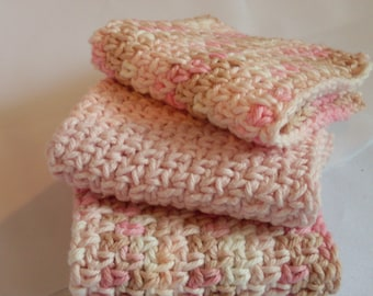 Crocheted Dish Cloths, Pink Dishcloths, Set of 3