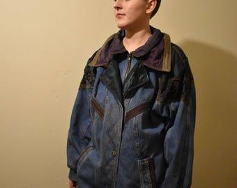 Patchwork denim zip up jacket