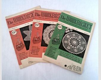 Vintage Craft Magazines, 1954 Workbasket Magazine Lot, 3 Issues, Mid Century Needlework Patterns