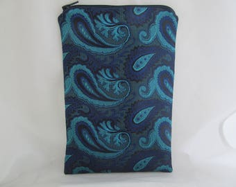 Brocade Tarot Card Bag Teal and Blue Paisley with Blue Satin Lining and Zipper Dice Makeup Pouch Fancy