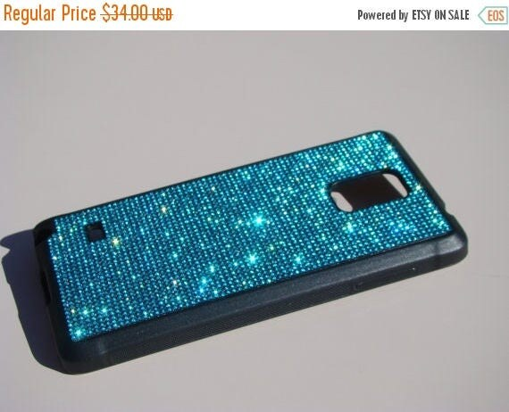 Sale Samsung Galaxy Note 4 Aquamarine Blue  Rhinestone Crystals on Black Rubber Case. Aqua Aquamarine Galaxy Note 4, RangseeCrystalCases