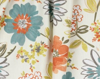 Floral Curtains / Blue Orange and Gray Curtains / Bedroom Curtains / Blackout Curtains / Living Room Curtains