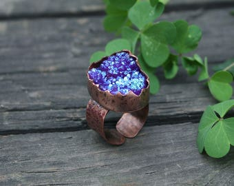 Druzy Ring - Gemstone Ring - Love Ring - Copper Ring - Statement Blue Drusy Ring - Big Engagement Copper Ring - Sacred magic ring