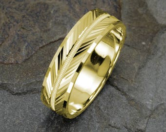 Yellow Gold Wedding Band, Grooved, Milgrained Faceted Ring, Mens Wedding Band, Mens Yellow Gold Ring, Solid Gold Wedding Band, 14k mens ring