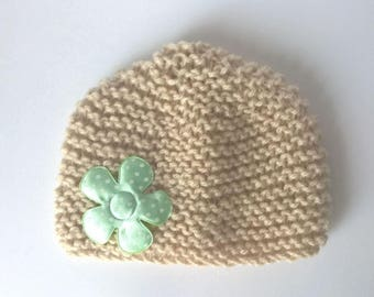 Hat newborn baby and baby green flower decor - handmade - 0/3 months